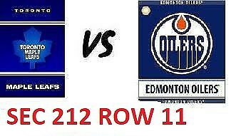 1-2 Tiks Edmonton Oilers Vs Toronto Maple Leafs Mar 9 Rogers Place Sect 212 R11