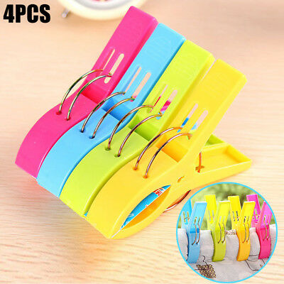 4Pcs Large Plastic Beach Towel Clip Lounger Pool Pegs Laundry Clothes Home Tool