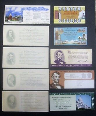 Presidential and Patriotic Ink Blotter Lot of 10 different