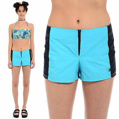 Vtg 90s Aqua NAUTICA Surf Sporty SWIM TRUNKS Nylon BOARD SHORTS Hip Huggers S