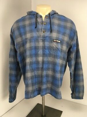 VTG 90s NO FEAR Blue Gray Plaid Henley Pullover Hooded Flannel L/S Shirt Sz XL