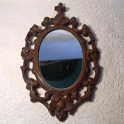 Antique 1800s BLACK FOREST Carved WALNUT DETAILED High Relief WOOD Frame Mirror