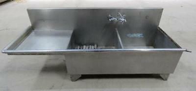 Stainless Steel Double Bowl Sink w/ Left Side Drainboard self free standing