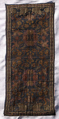 Antique 19th Century Tapestry Silver & or Gold Thread  Table Runner or Wall