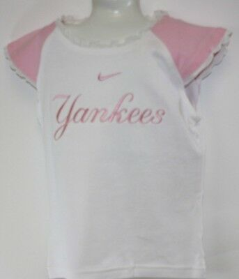 NEW Infant Toddler Kids Girls Nike 2 piece NY Yankees White Pink Shirt & Skort