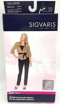 Sigvaris Eversheer 20-30mmHg Calf Length Stockings LS Suntan Women's Closed Toe