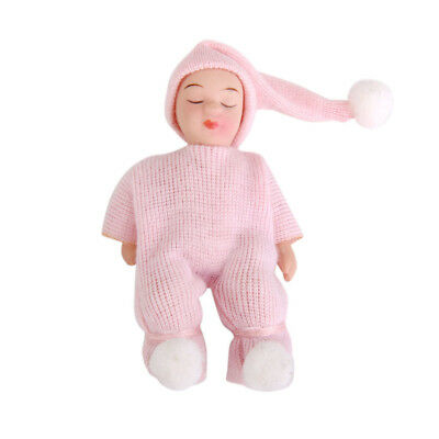 1/12 Doll House Porcelain Doll Lovely Little Baby in Pink Sweater Home Decor