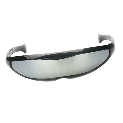 bb52c3047344 Futuristic Narrow Cyclops Glasses Personality Mirrored Lens Costume Glasses