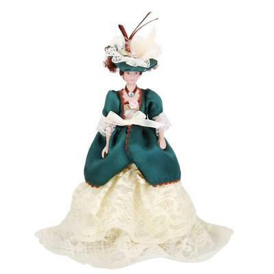 1/12 Dollhouse Porcelain Doll Victorian Lady in Green Gown Figures Display