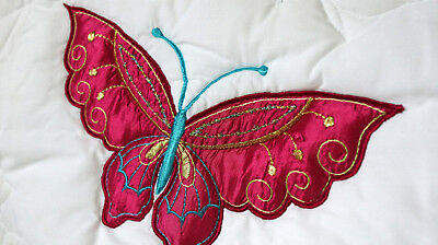 2 x NEW Embroidered Butterfly Cot Bumper Girls Room Decoration Twin Pack