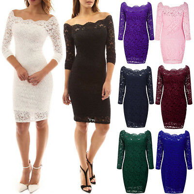 Women Elegant Off Shoulder Long Sleeve Bodycon Evening Cocktail Party Lace Dress