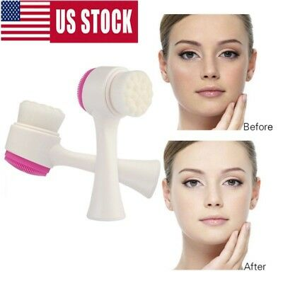 3D Silicone Double-sided Facial Cleansing Brush Face Massage Beauty Brush Tool