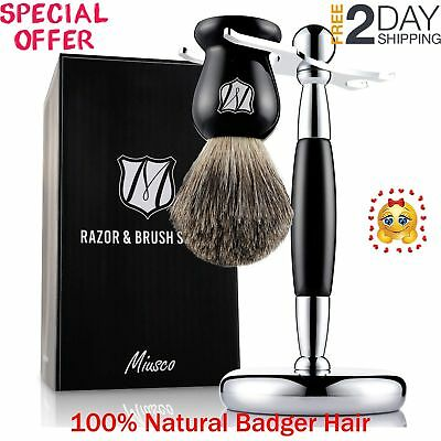 Miusco Badger Hair Shaving Brush and Stand Shaving Set Black