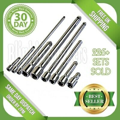 """9Pc Socket Wrench Wobble Bar Extra Long Extension Tool Set 1/4"""" 3/8"""" 1/2""""  Drive"""