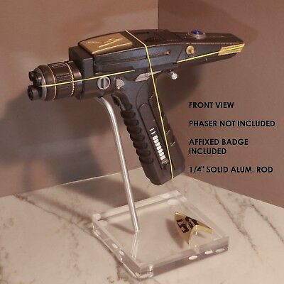 Star Trek TOS, Phaser Display Stand, Very High Quality, 50th Badge