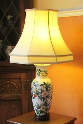 "16"" Chinese Table Lamp with Exotic Birds ans Floral Clusters."