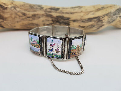 Rare Antique Chinese Export Solid Silvr Hand Painted Enamel Bracelets 50.5 G.