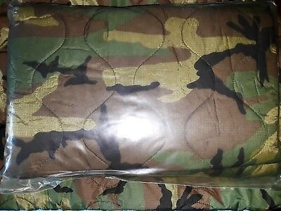 US Military Issue Woodland Camo Woobie Wet Weather Army Poncho Liner 64x86