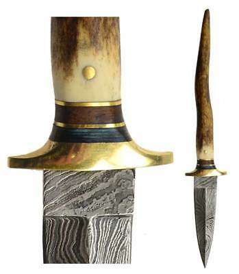Bone Damascus Athame Pagan Witchcraft Wiccan Ritual Altar Supply