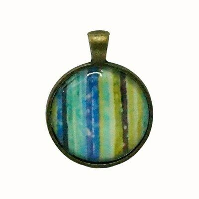 Round Glass Tile Pendant Patterned Stripes Blue Green Purple Yellow