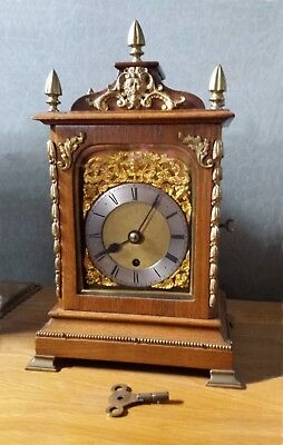 BEAUTIFUL SMALL EDWARDIAN FUSEE BRACKET CLOCK - OAK and WALNUT