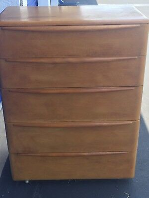 "Mid-Century Heywood Wakefield ""encore"" 5 Drawer Tall Dresser With Wheat Finish"