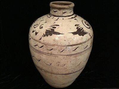 "Antique Chinese Song Dynasty 11-14C Cizhou painted porcelain pottery 15.5"" vase"
