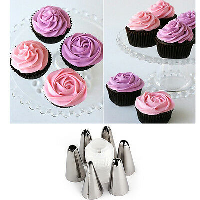 Silicone Reusable Piping Bag 6 Icing Nozzles Fondant Cake Pastry Decora IT