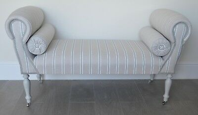 Chaise Longue Lounge Sofa Daybed Seat in Duck Egg Blue/White Thin Stripe Print