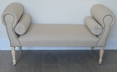 Chaise Longue Lounge Sofa Daybed Seat in a Washed Linen Fabric
