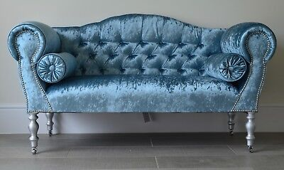 Chaise Longue Lounge Sofa Bench Seat in Crushed Blue Velvet . Handmade in UK
