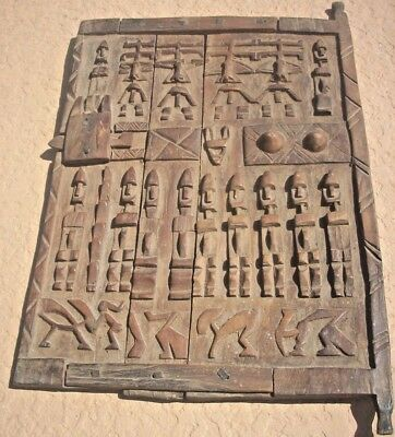 DOGON GRANARY DOOR  with LATCH   MANY FIGURES - WOOD - OLD