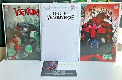 Lot 3 Venom Marvel Variants Parrillo, Edge of Venomverse #1 Blank Tom Hardy