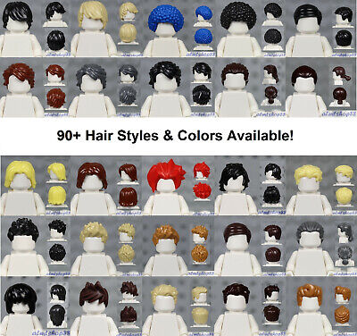 LEGO - MALE Hair Pieces - PICK COLORS & STYLE - Minifigure Wigs Hat Town City