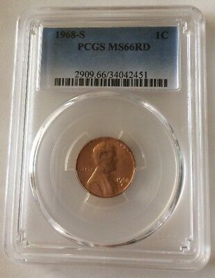 1968 S Lincoln Memorial Cent PCGS MS66 RD Penny 1c🇺🇸