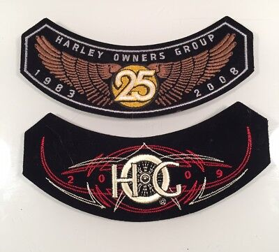 2 Harley Owners Group HOG 2008 25 Years & 2009 Rocker Patches Free Shipping USA