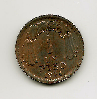 World Coins - Chile 1 Peso 1954 Copper Coin KM# 179