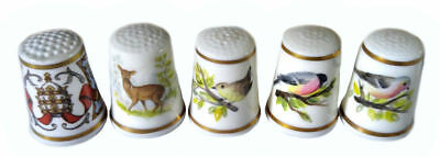 Royal Worcester Thimble Lot - Deer, Three birds, and Pope John Paul II 1982