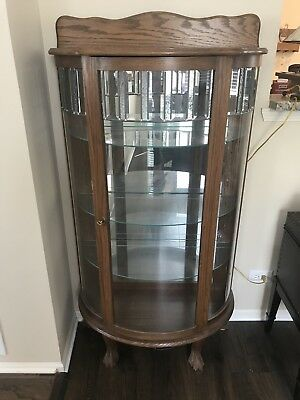 "Vintage Curved Glass & Wood Curio Cabinet - 60"" standalone w/leaded glass trim"