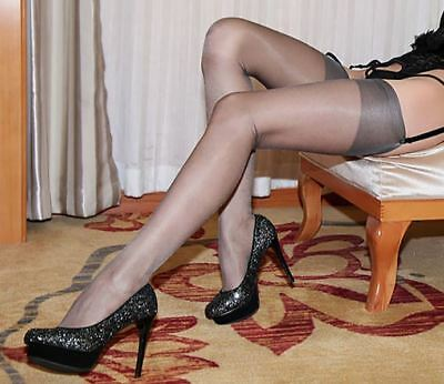 100% Nylon 10 Denier Sheer Shiny Reinforced Toe Nude Heel Stockings