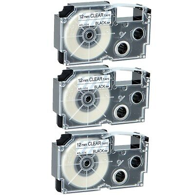 """3PK XR-12X Black on Clear Label Tape for Casio KL-60 100 7000 8200 8800 1/2"""""""