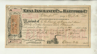 1868 Receipt For Premium Payment At Davenport Iowa Office Aetna Insurance Hrtfd