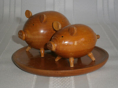 Retro Vintage Teak Pig Salt & Pepper Shaker Cruet Set 1950's Europe