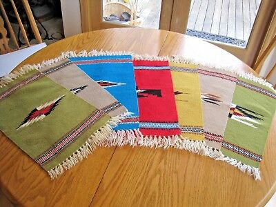 Vintage Wool Hand Woven Mexican Indian Saltillo Rug Table Mat *price For One*