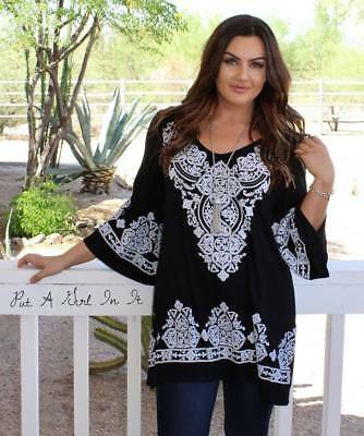 Plus Size Black White Baroque Faux Embroidered Flare Tunic Shirt 1X 2X 3X Usa