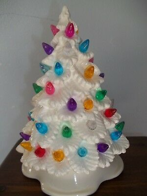 White Easter Tree Ceramic Light Lots Of Pastel Colored Ornament Decoration