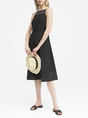 f0a0d0def78 New BANANA REPUBLIC XS 0  128 Black STRAPPY FIT FLARE DRESS Cocktail Party  Midi