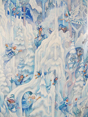"Vintage Whimsical ""Ice Fairies"" Bill Bell SIGNED Framed Lithograph Print NR yqz"