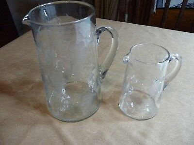 Vintage Elegant Glass Water/Lemonade Pitcher with Etched Grape Pattern 2 QT