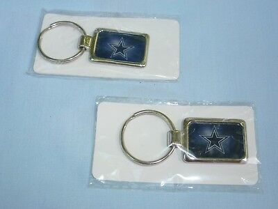 DALLAS COWBOYS  Silver Rectangle KEYCHAIN / KEYRING  by Rico  NWT  quantity of 2